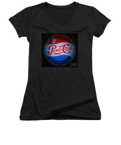 Pepsi Cap Sign Women's V-Neck T-Shirt (Junior Cut) by Mitch Shindelbower