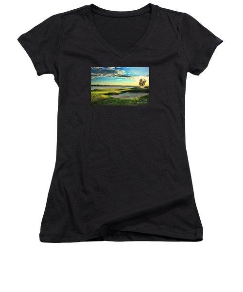 Perfect Golf Sunset Women's V-Neck T-Shirt (Junior Cut) by Reid Callaway