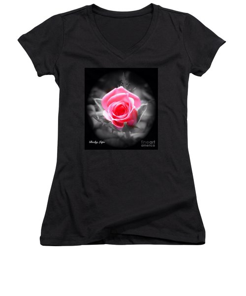 Perfect Rosebud In Black Women's V-Neck T-Shirt (Junior Cut) by Becky Lupe