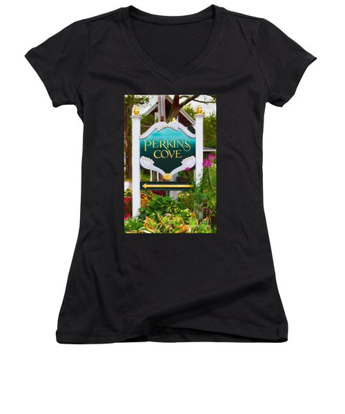 Perkins Cove Sign Women's V-Neck T-Shirt (Junior Cut) by Jerry Fornarotto