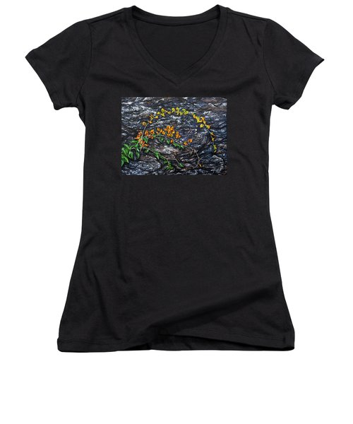 Women's V-Neck T-Shirt (Junior Cut) featuring the painting Persistence by Craig T Burgwardt