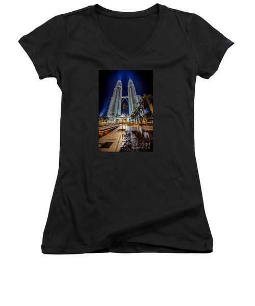 Petronas Twin Towers Women's V-Neck T-Shirt (Junior Cut) by Adrian Evans