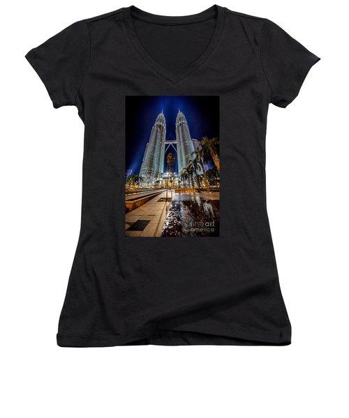 Petronas Twin Towers Women's V-Neck