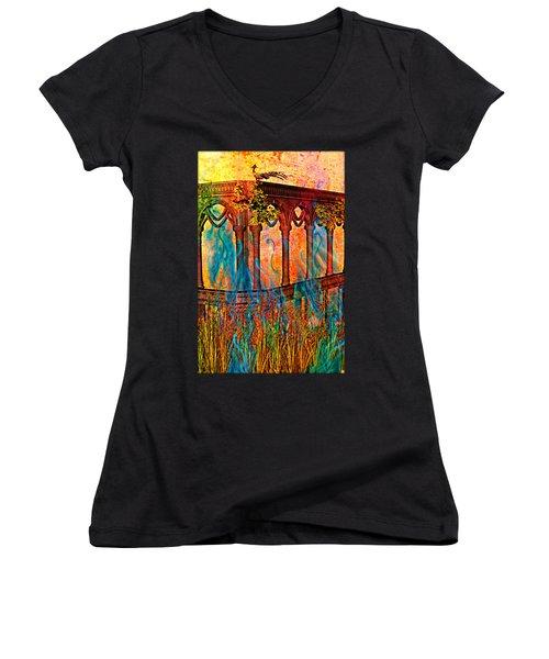 Phantom Fires Women's V-Neck T-Shirt (Junior Cut) by Ally  White