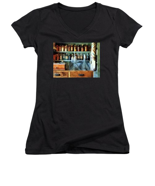 Women's V-Neck T-Shirt (Junior Cut) featuring the photograph Pharmacist - Glass Funnels And Barber Pole by Susan Savad