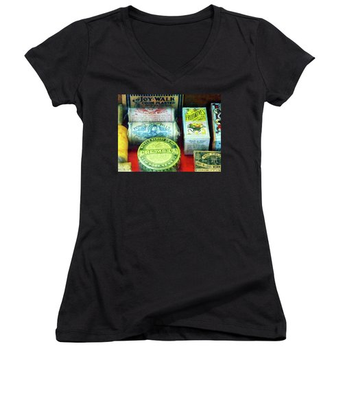 Women's V-Neck T-Shirt (Junior Cut) featuring the photograph Pharmacy - For Aches And Pains by Susan Savad