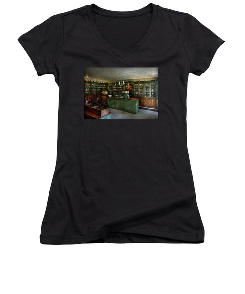 Pharmacy - The Chemist Shop  Women's V-Neck T-Shirt (Junior Cut) by Mike Savad