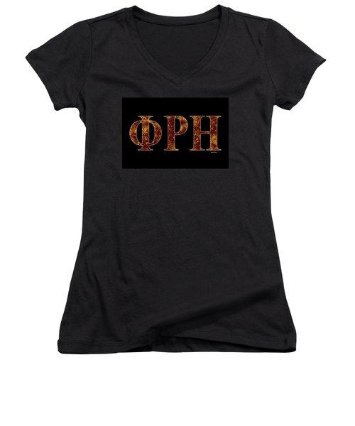 Phi Rho Eta - Black Women's V-Neck T-Shirt (Junior Cut) by Stephen Younts
