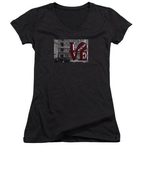 Philadelphia Love Women's V-Neck T-Shirt (Junior Cut) by Terry DeLuco