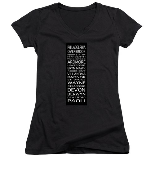Philadelphia Main Line Train Scroll Women's V-Neck T-Shirt