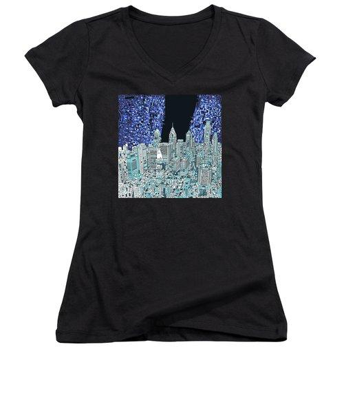 Philadelphia Map Panorama Women's V-Neck T-Shirt