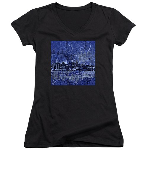 Philadelphia Skyline Abstract 2 Women's V-Neck T-Shirt