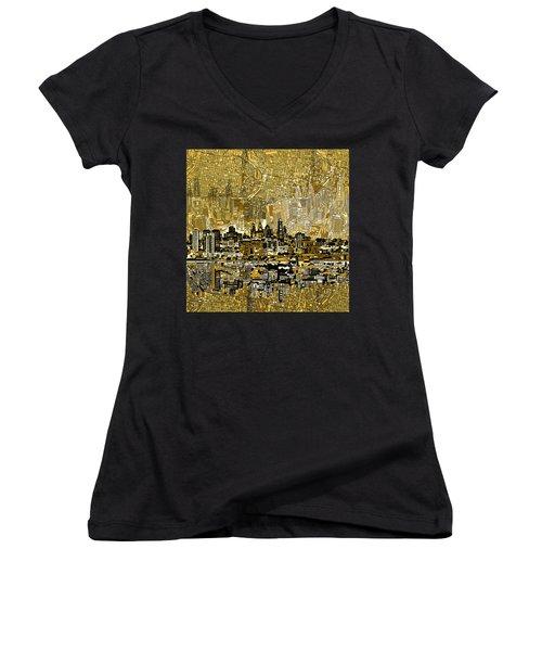 Philadelphia Skyline Abstract 3 Women's V-Neck T-Shirt