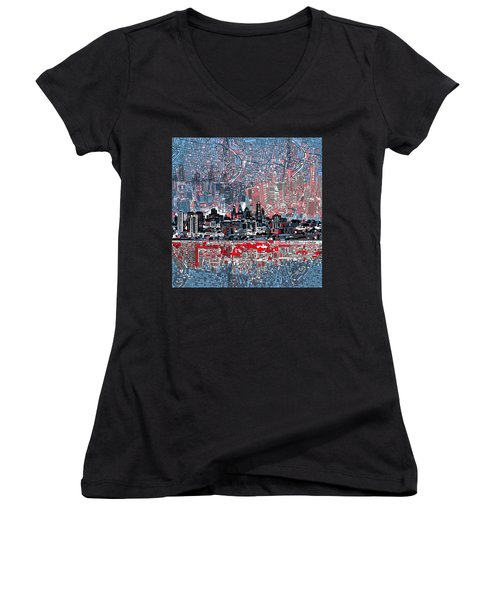 Philadelphia Skyline Abstract Women's V-Neck T-Shirt