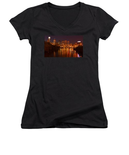 Philly Lights Reflected Women's V-Neck T-Shirt (Junior Cut) by Michael Porchik