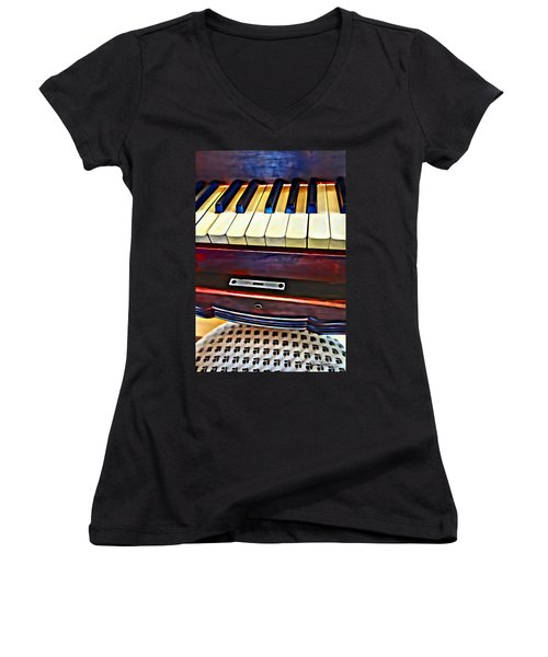Piano And Stool Women's V-Neck