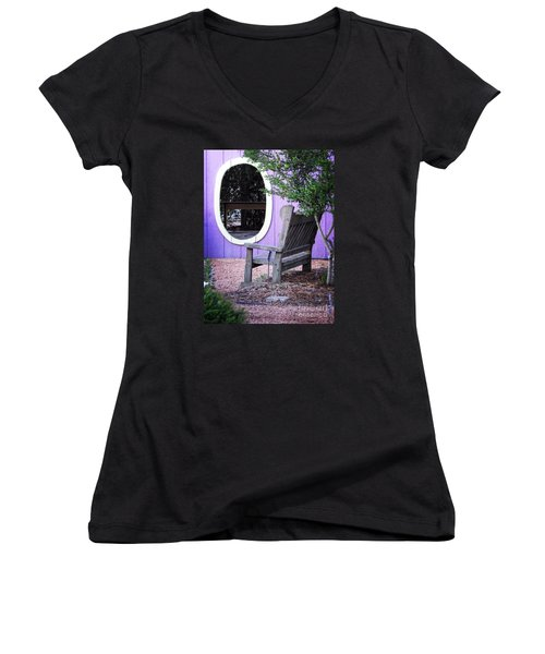 Women's V-Neck T-Shirt (Junior Cut) featuring the photograph Picture Perfect Garden Bench by Ella Kaye Dickey