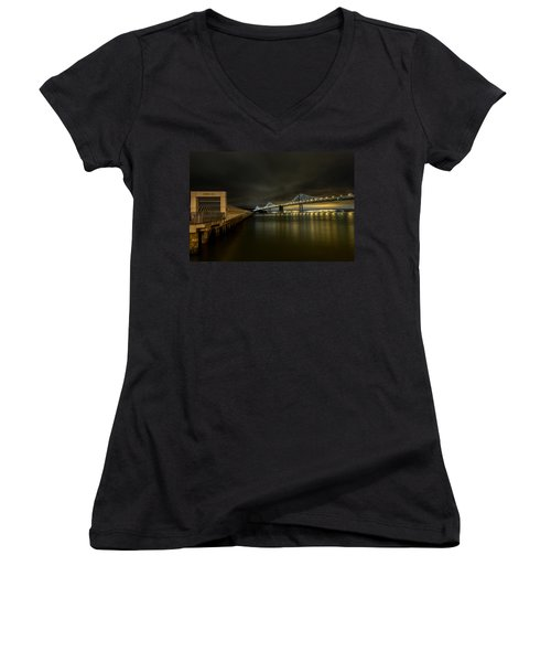Pier 14 And Bay Bridge At Night Women's V-Neck (Athletic Fit)