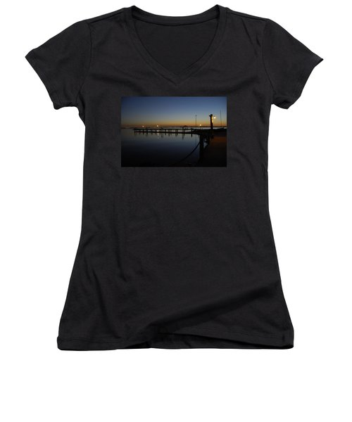 Pier At Chandlers Landing Rockwall Tx Women's V-Neck T-Shirt (Junior Cut) by Charles Beeler