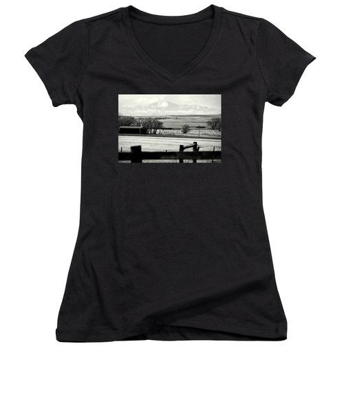 Pikes Peak From Ramah Women's V-Neck T-Shirt (Junior Cut) by Clarice  Lakota