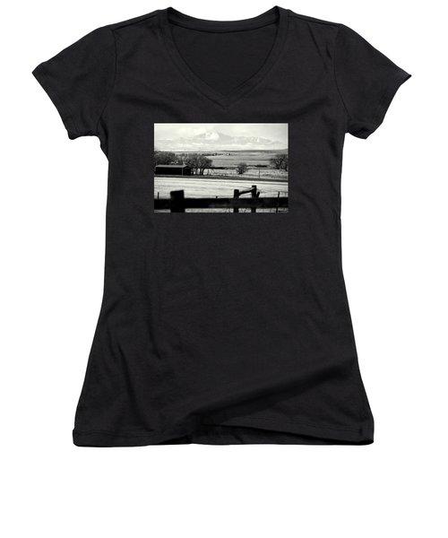 Pikes Peak From Ramah Women's V-Neck T-Shirt