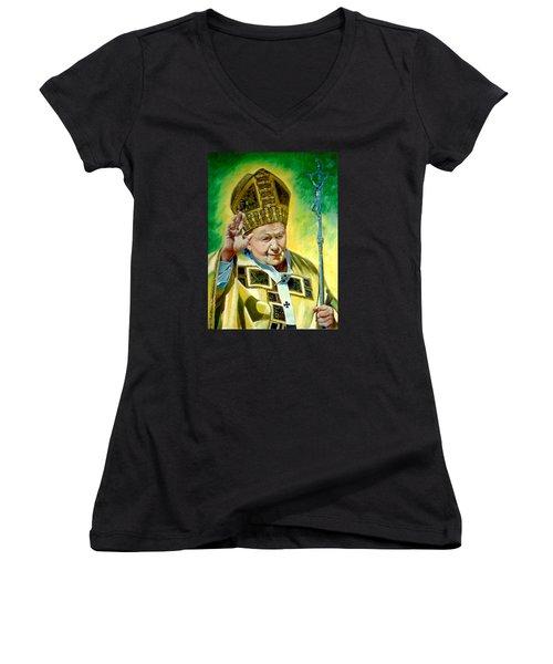Women's V-Neck T-Shirt (Junior Cut) featuring the painting Pilgrim by Henryk Gorecki