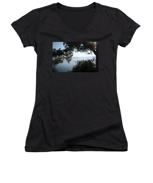Women's V-Neck T-Shirt (Junior Cut) featuring the photograph Pine Trees Overhanging The Aegean Sea by Tracey Harrington-Simpson