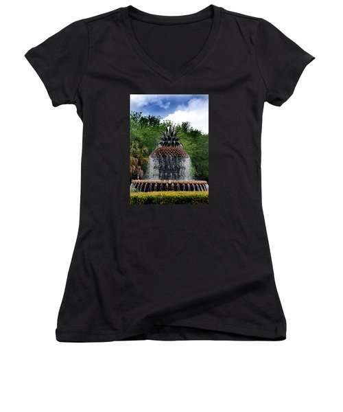 Pineapple Fountain Women's V-Neck (Athletic Fit)