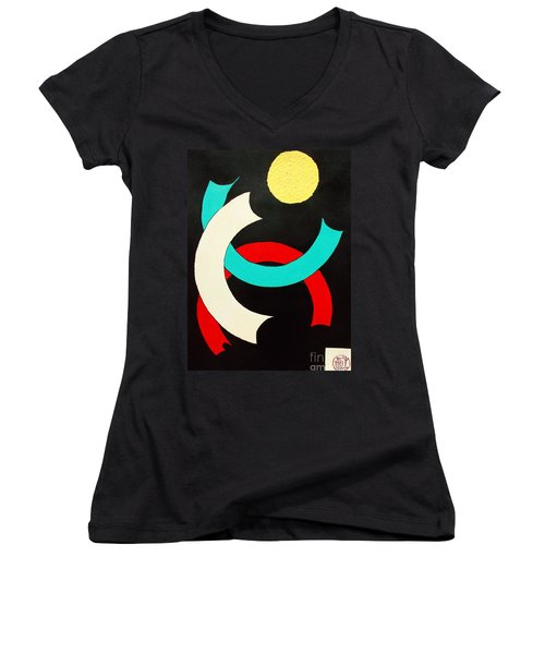 Pineapple Moon Women's V-Neck (Athletic Fit)