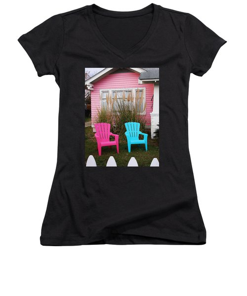 Pink And Blue Chairs By Jan Marvin Women's V-Neck T-Shirt