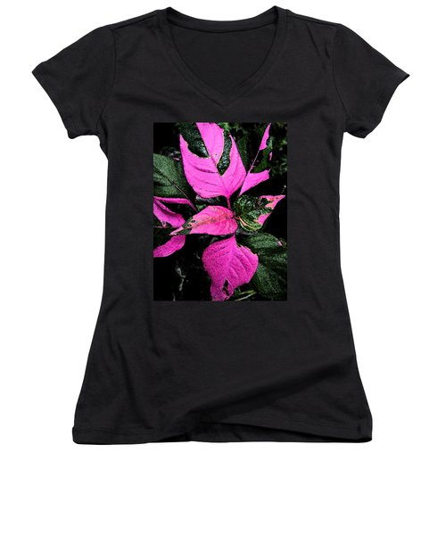 Women's V-Neck T-Shirt (Junior Cut) featuring the photograph Pink And Green by Aimee L Maher Photography and Art Visit ALMGallerydotcom