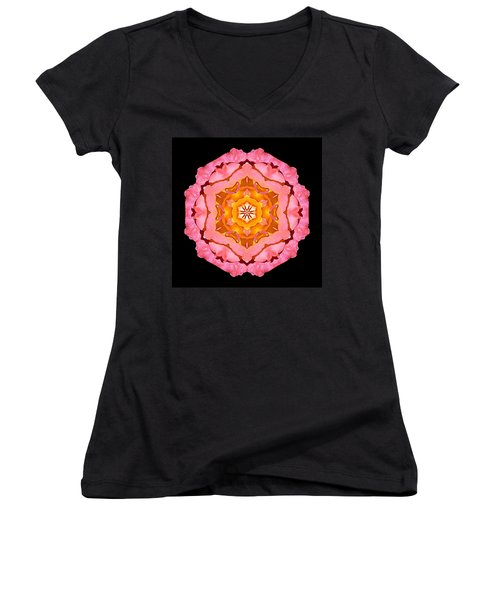 Women's V-Neck T-Shirt (Junior Cut) featuring the photograph Pink And Orange Rose I Flower Mandala by David J Bookbinder