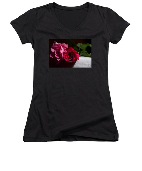 Women's V-Neck T-Shirt (Junior Cut) featuring the photograph Pink And Red Rose by Matt Malloy