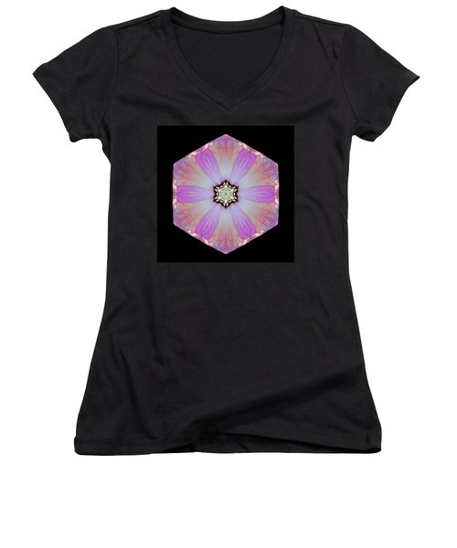 Women's V-Neck T-Shirt (Junior Cut) featuring the photograph Pink And White Hibiscus Moscheutos I Flower Mandala by David J Bookbinder