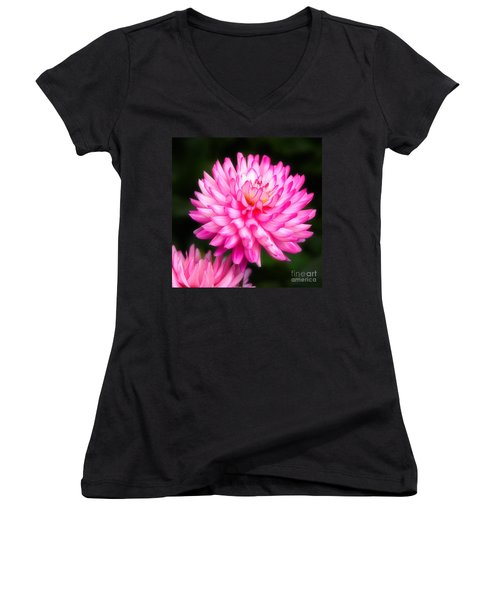 Pink Chrysanths Women's V-Neck