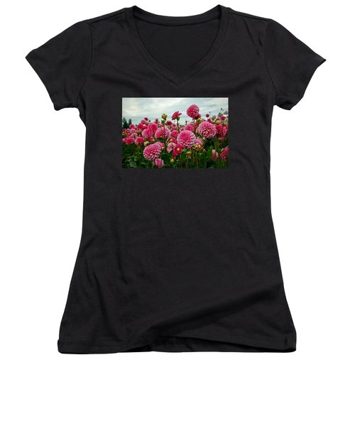 Pink Dahlia Field Women's V-Neck (Athletic Fit)