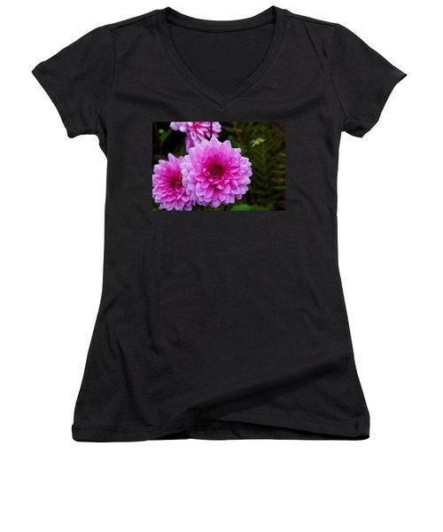 Pink Dahlias Women's V-Neck T-Shirt