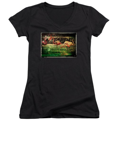 Pink Flamingos - Shangri-la Women's V-Neck T-Shirt (Junior Cut) by Absinthe Art By Michelle LeAnn Scott