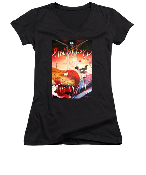 Pink Floyd The Wall Women's V-Neck (Athletic Fit)