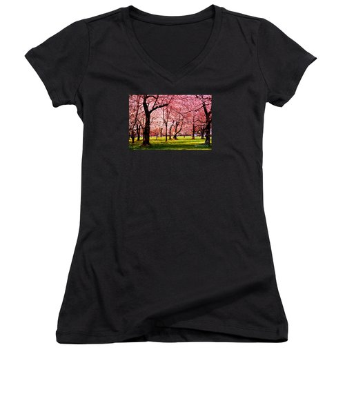 Pink Forest Women's V-Neck T-Shirt (Junior Cut) by Patti Whitten