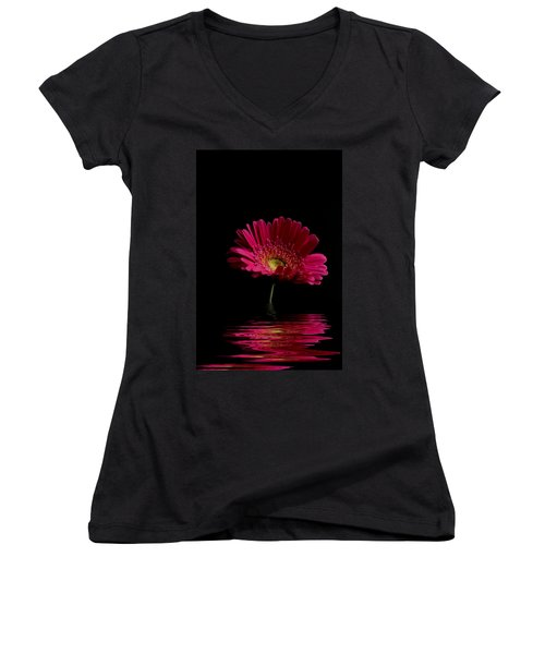 Pink Gerbera Flood 1 Women's V-Neck T-Shirt (Junior Cut) by Steve Purnell
