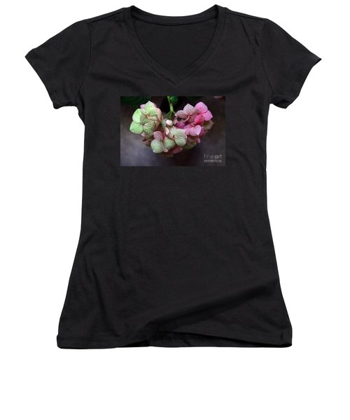 Pink Green And Rain Women's V-Neck (Athletic Fit)