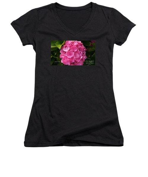 Women's V-Neck T-Shirt (Junior Cut) featuring the photograph Blushing Rose by Jeannie Rhode