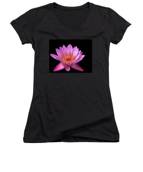 Women's V-Neck T-Shirt (Junior Cut) featuring the photograph Pink Lady On Black by Judy Vincent
