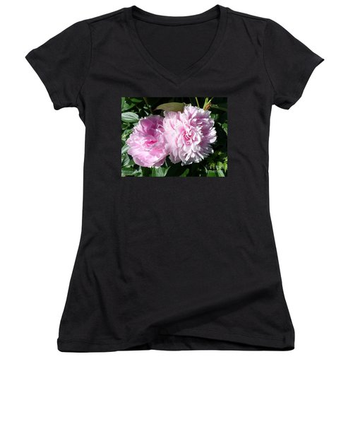 Pink Peonies 3 Women's V-Neck (Athletic Fit)