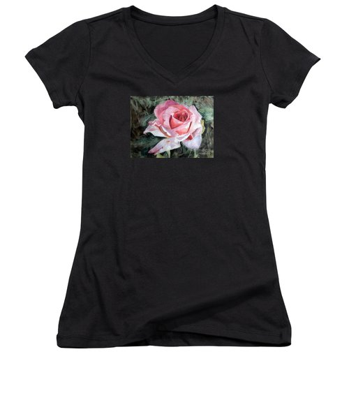 Pink Rose Greg Women's V-Neck T-Shirt (Junior Cut) by Greta Corens