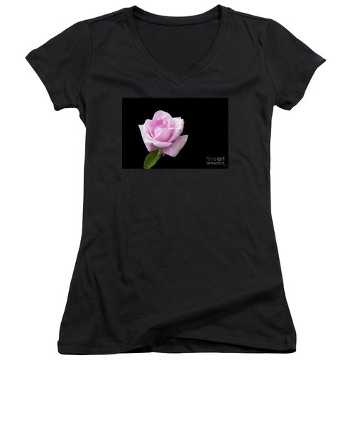 Women's V-Neck T-Shirt (Junior Cut) featuring the digital art Pink Rose On Black by Victoria Harrington