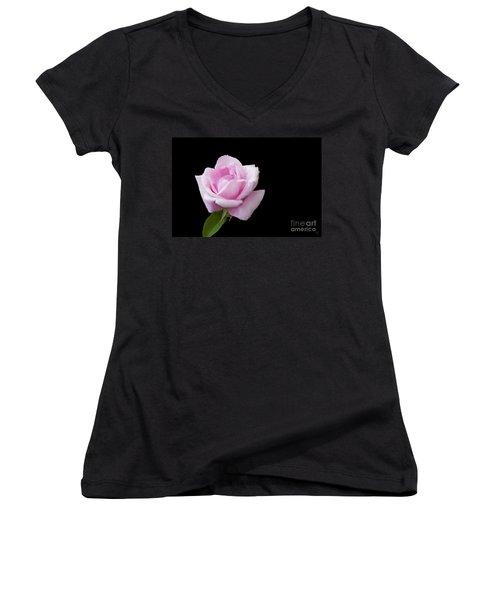 Pink Rose On Black Women's V-Neck T-Shirt (Junior Cut) by Victoria Harrington