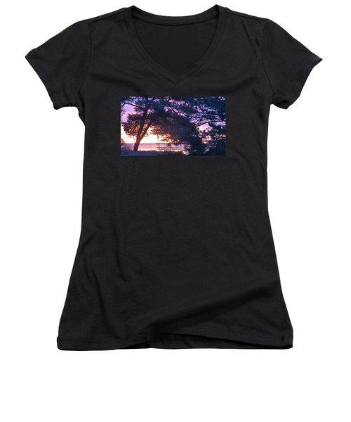Pink Sunrise Women's V-Neck T-Shirt