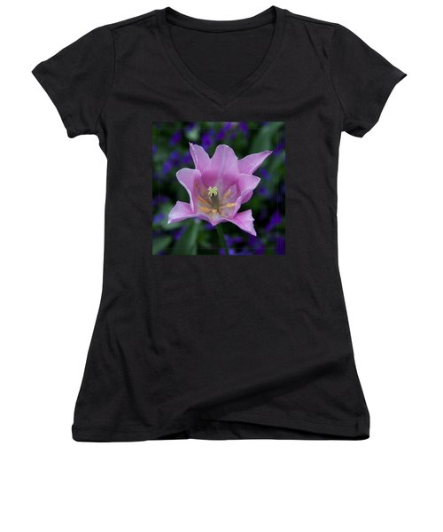 Pink Tulip Flower With A Spot Of Green Fine Art Floral Photography Print Women's V-Neck T-Shirt